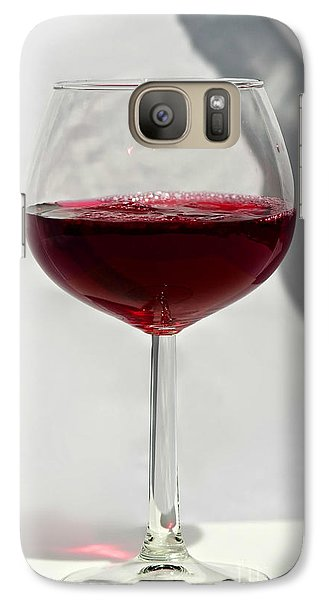 Galaxy Case featuring the photograph One Glass Of Red Wine With Bottle Shadow Art Prints by Valerie Garner