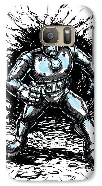 Galaxy Case featuring the drawing One Small Step For Iron Man by John Ashton Golden