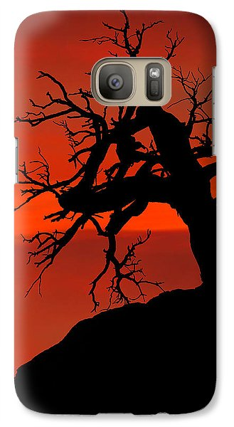 Galaxy Case featuring the photograph One Tree Hill Silhouette by Greg Norrell