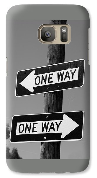 Galaxy Case featuring the photograph One Way Or Another - Confusing Road Signs by Jane Eleanor Nicholas