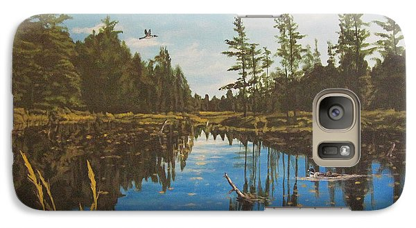 Galaxy Case featuring the painting O'neal Lake by Wendy Shoults