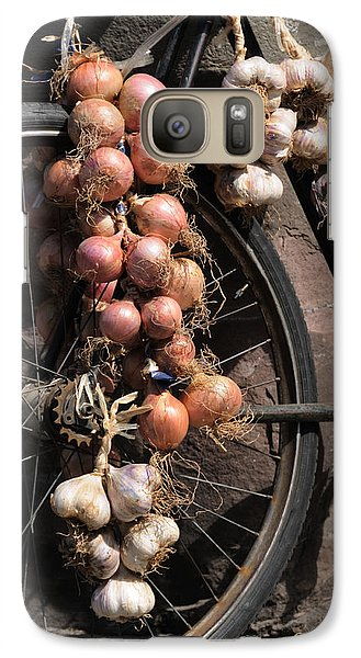 Galaxy Case featuring the photograph Onions And Garlic On Bike  by Jeremy Voisey