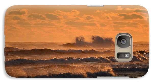 Galaxy Case featuring the photograph Opal Beach Sunset Colors With Huge Waves by Jeff at JSJ Photography