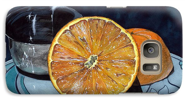 Galaxy Case featuring the painting Orange And Silver by Barbara Jewell