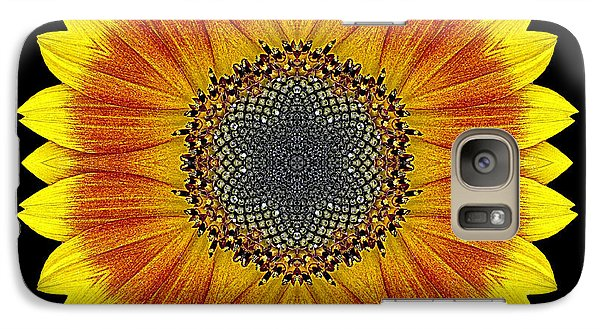 Galaxy Case featuring the photograph Orange And Yellow Sunflower Flower Mandala by David J Bookbinder