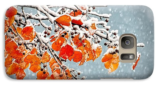 Galaxy Case featuring the photograph Orange Autumn Leaves In Snow by Tracie Kaska