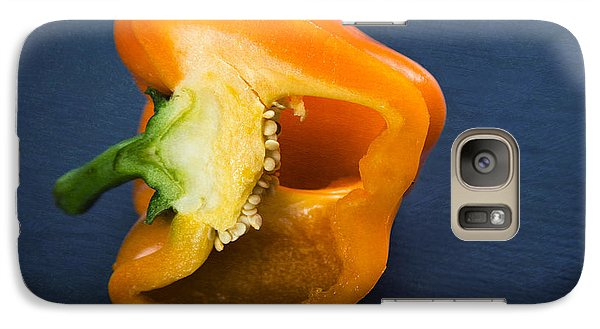 Orange Bell Pepper Blue Texture Galaxy S7 Case by Matthias Hauser