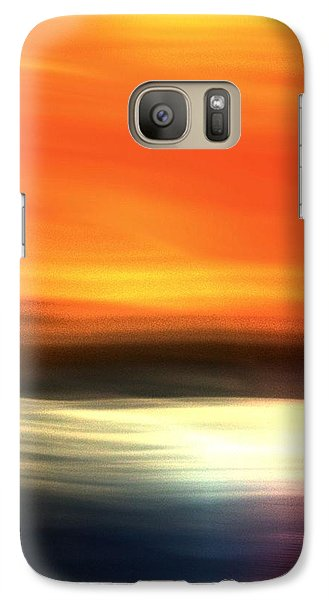 Galaxy Case featuring the mixed media Orange Black Blue by Terence Morrissey