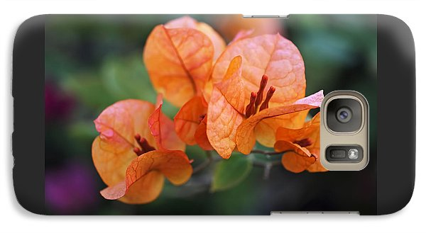 Orange Bougainvillea Galaxy Case by Rona Black