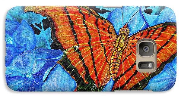 Galaxy Case featuring the painting Orange Butterfly by Debbie Chamberlin