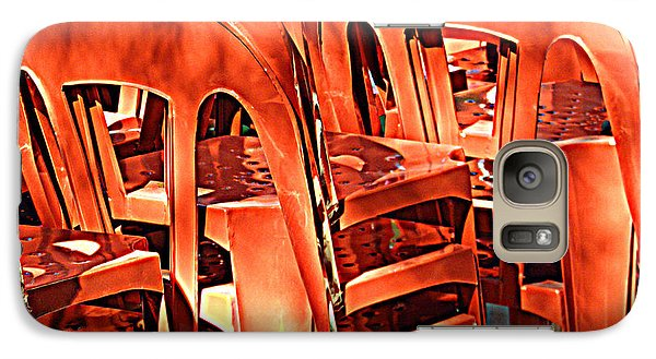 Galaxy Case featuring the digital art Orange Chairs by Valerie Reeves