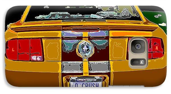 Galaxy Case featuring the photograph Orange Crush Mustang Rear View by Samuel Sheats