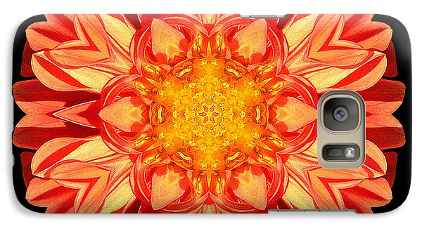 Galaxy Case featuring the photograph Orange Dahlia Flower Mandala by David J Bookbinder