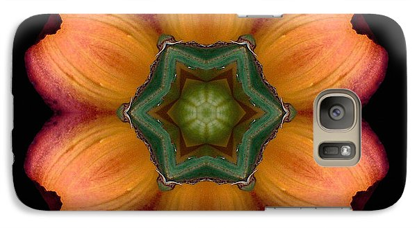 Galaxy Case featuring the photograph Orange Daylily Flower Mandala by David J Bookbinder