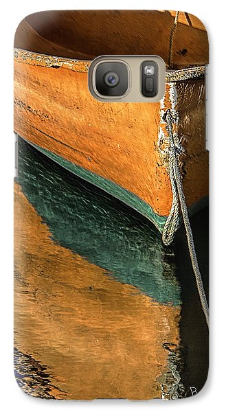 Galaxy Case featuring the photograph Orange Dinghy In Warm Sun by Betty Denise