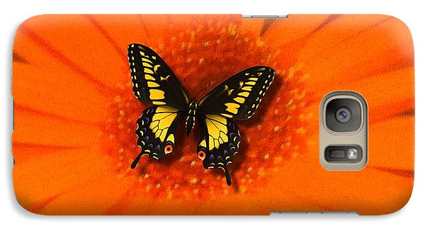 Galaxy Case featuring the photograph Orange Flower And A Butterfly By Saribelle Rodriguez by Saribelle Rodriguez