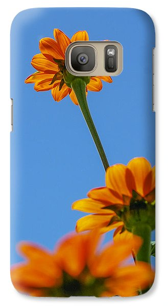 Galaxy Case featuring the photograph Orange Flowers On Blue Sky by Debbie Karnes