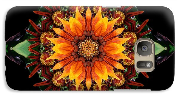 Galaxy Case featuring the photograph Orange Gazania IIi Flower Mandala by David J Bookbinder