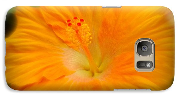 Galaxy Case featuring the photograph Orange Hibiscus Flower by Clare Bevan