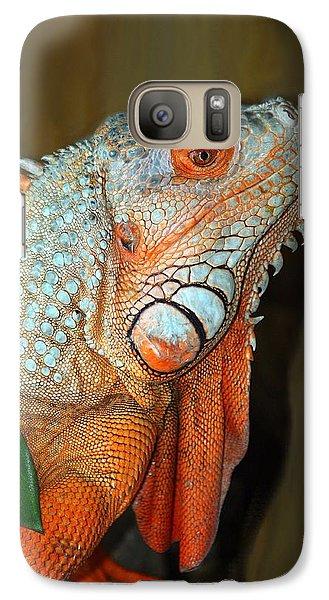 Galaxy Case featuring the photograph Orange Iguana by Patrick Witz