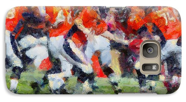 Galaxy Case featuring the digital art Orange In Motion by Carrie OBrien Sibley