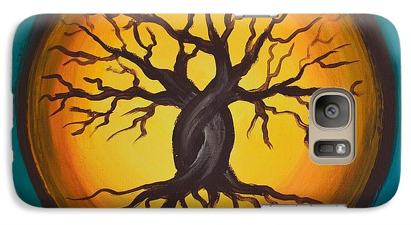 Galaxy Case featuring the painting Orange Moon by Agata Lindquist