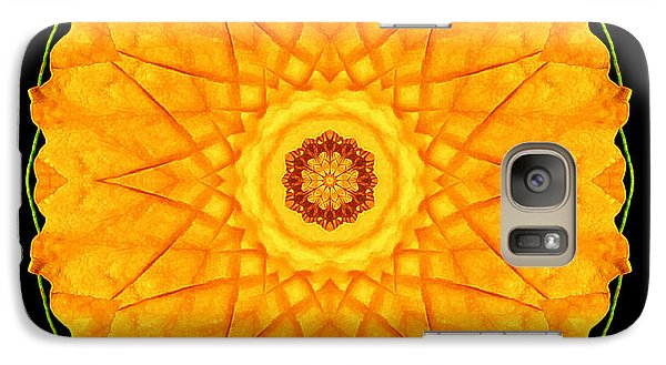 Galaxy Case featuring the photograph Orange Nasturtium Flower Mandala by David J Bookbinder