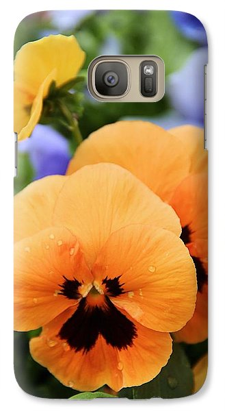 Galaxy Case featuring the photograph Orange Pansies by Elizabeth Budd
