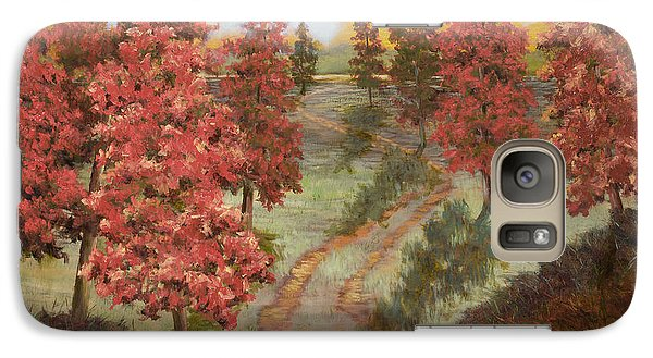 Galaxy Case featuring the painting Orange Pines by Vic  Mastis