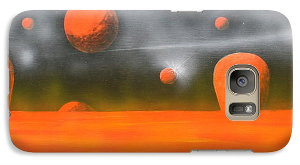 Galaxy Case featuring the painting Orange Planet by Tim Mullaney