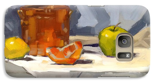 Galaxy Case featuring the painting Orange Reflections by Nancy  Parsons