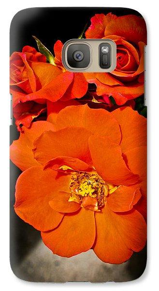 Galaxy Case featuring the photograph Orange Rose Trio by Joann Copeland-Paul