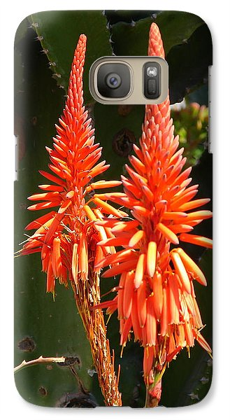 Galaxy Case featuring the photograph Orange Succulent by Lew Davis