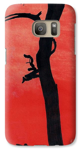 Galaxy Case featuring the drawing Orange Sunset Silhouette Tree by D Hackett