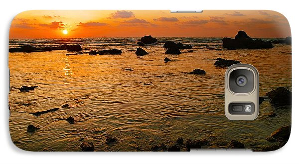 Galaxy Case featuring the photograph Orange Sunset by Meir Ezrachi