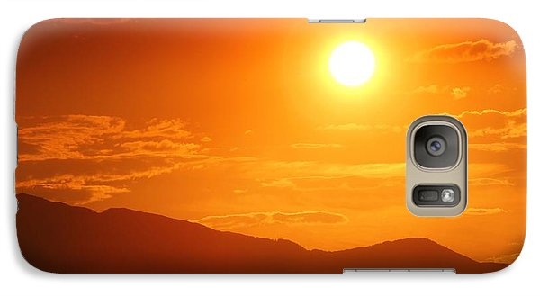 Galaxy Case featuring the photograph Orange Sunset Over Mountains by Tracie Kaska