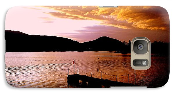 Galaxy Case featuring the photograph Orange Sunset Skaha Lake by Guy Hoffman