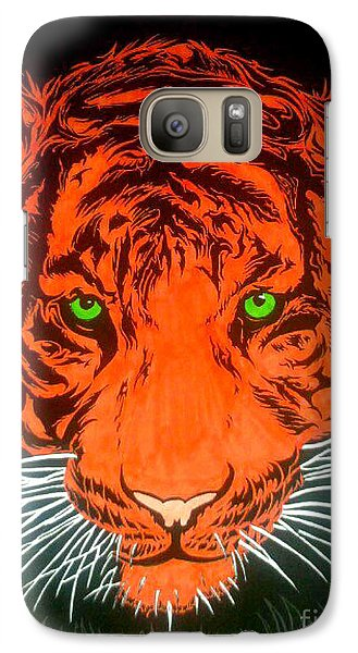 Galaxy Case featuring the drawing Orange Tiger by Justin Moore