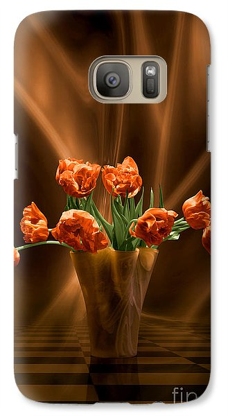 Galaxy Case featuring the digital art Orange Tulips In Floating Room by Johnny Hildingsson