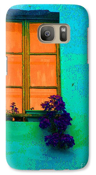 Galaxy Case featuring the photograph Orange Window With Flowers by Ann Johndro-Collins
