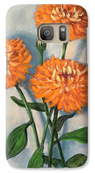 Galaxy Case featuring the painting Orange Zinnias by Randol Burns
