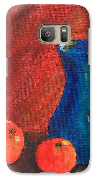 Galaxy Case featuring the painting Oranges And A Vase by Melvin Turner