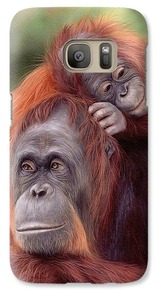 Orangutan Galaxy S7 Case - Orangutans Painting by Rachel Stribbling