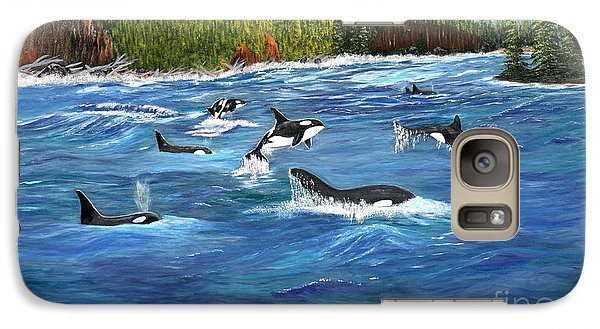 Galaxy Case featuring the painting Orcas by Myrna Walsh
