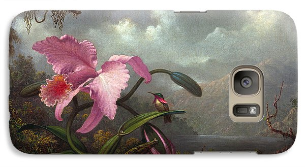 Orchid Galaxy S7 Case - Orchid And Hummingbir by Martin Johnson Heade