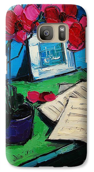 Orchid And Piano Sheets Galaxy S7 Case by Mona Edulesco