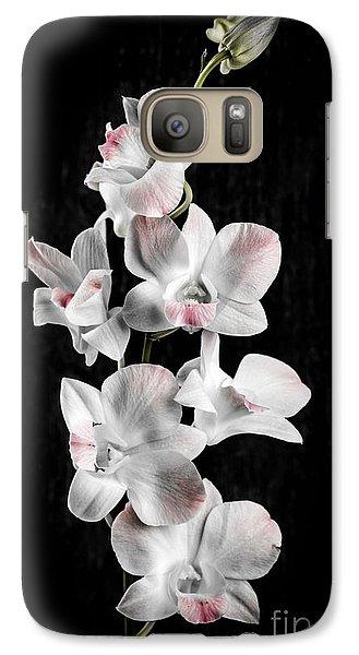 Orchid Flowers On Black Galaxy S7 Case by Elena Elisseeva