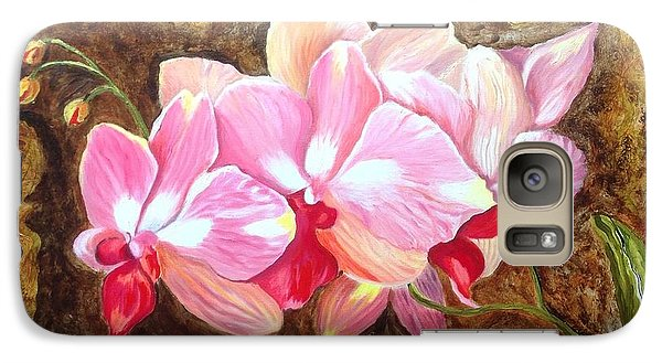 Galaxy Case featuring the painting Orchids by Renate Voigt