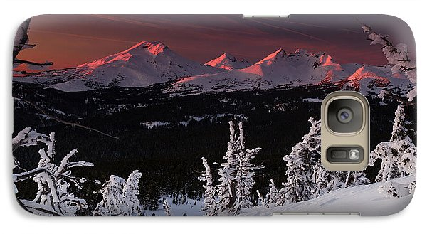 Galaxy Case featuring the photograph Oregon Cascades Winter Sunset by Kevin Desrosiers