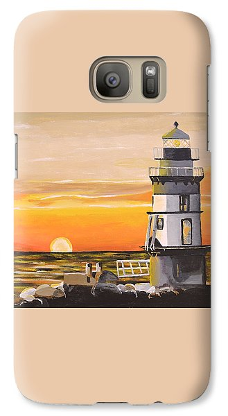 Galaxy Case featuring the painting Orient Point Lighthouse by Donna Blossom